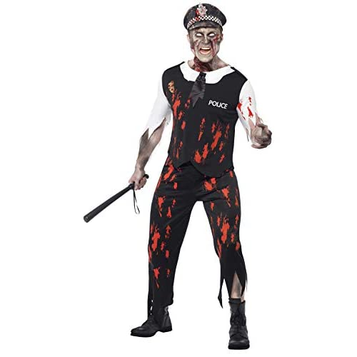 Smiffys Costume Zombie Poliziotto, comprende Top, Cravatta, Pezzo in Lattice, Pantaloni