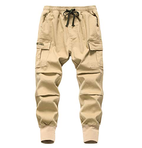 LAUSONS Jungen Cargohose Kinder Jogginghose Casual Outdoor Hose mit Gummizug Khaki Größe 160/152-164