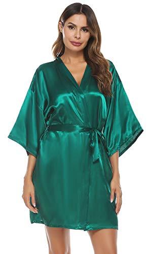 Vlazom Kimono Mujer Satén Suave y Ligero, Albornoces para Muje de Dormir / Batas Mujer de Pijamas