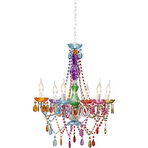 Kare Design Hängeleuchte Starlight Rainbow 6-Arm, moderner, bunter Kronleuchter, kleine Pendelleuchte mit Fassungen im Kerzendesign, Lüster (H/B/T) 70x55x55cm