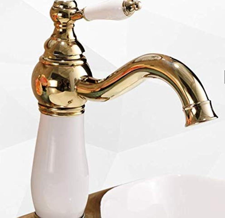 Wasserhahn Badewanne Golden Ceramic Faucet Hot And Cold Wash Basin Basin Single Hole Weiß Faucet Bathroom Faucet Hot And Cold Water