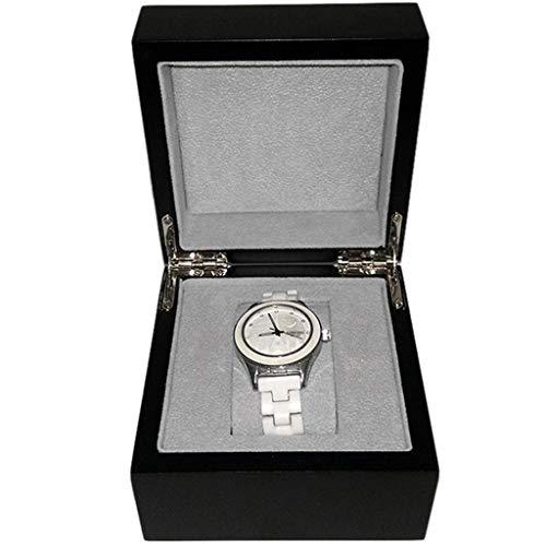 QCSMegy Vitrine de Luxe boîte de Rangement créative Simple rétro Tapis détachable boîte à Bijoux Bijoux L12cm W12cm H 8cm (Noir)