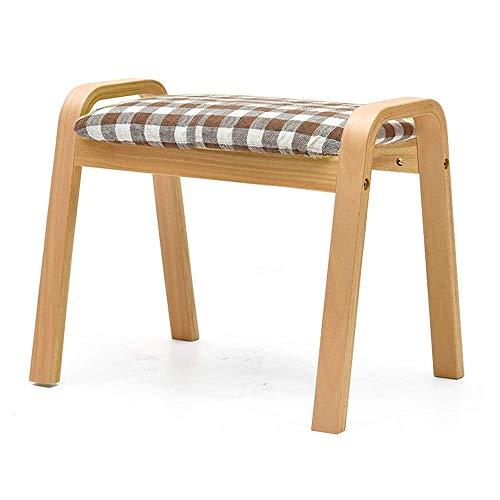 TT&D Woonmeubel Houten kaptafel, poef, poef, wasbaar, beklede voetensteun, gevoerde ruimte veranderen, schoenen, bank, kind, concave eetkamer zitting met afneembare linnen bekleding Wood color Gtweslea3803r-3