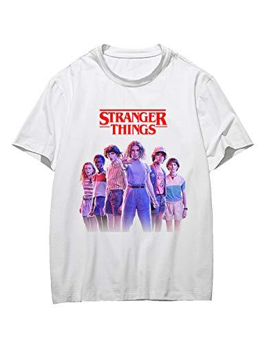 T-Shirt Stranger Things Ado Fille, Tee Shirt Stranger Things Noir Blanc Femme Imprimé Manche Courte Été Shirt Sport T Shirt Baseball Hauts Tops Chemise Fan de TV Séries (Blanc-5,XS)