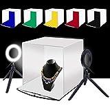 PULUZ 30cm 撮影ボックス+4.6インチLEDリングライト 撮影キット ポータブル 折畳みソフトボックス 6色背景色(赤、緑、黄色、青、白、黒)リングライト付き 写真撮影ブース 簡易スタイジオ 収納便利 組立簡単 サイズ:30 cm x 30 cm x 30 cm (30cmソフトボックス)