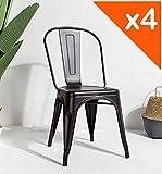 Kosmi - Lot de 4 Chaises Noires en métal Noir Mat Style Industriel Factory