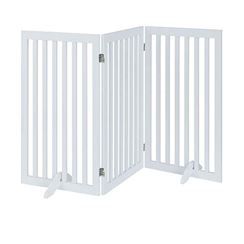 unipaws Freestanding Wooden Dog Gate Foldable Pet Gate with 2Pcs Support Feet Dog Barrier Indoor Pet Gate Panels for Stairs White 3 Panels 20 inches Wide 36 inches High