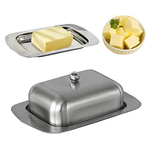 ZEENEEK - Mantequera de acero inoxidable con tapa, contenedor sólido para queso o mantequilla, caja de almacenamiento para mantequilla y queso - Bandeja de mantequilla duradera
