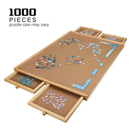 Lovinouse Upgraded Wooden Puzzle Table, for 1000 Pieces Puzzles, Plateau-Smooth Fiberboard Work Surface with 4 Sliding Drawers, Jigsaw Puzzle Boards and Storage