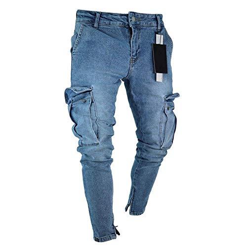 Herren Mode Hi Street Jeans Hosen Mit Großen Taschen Streetwear Stretch Jeans Hose Für Mann Knöchel Reißverschluss Größe S-3Xl XL Blau