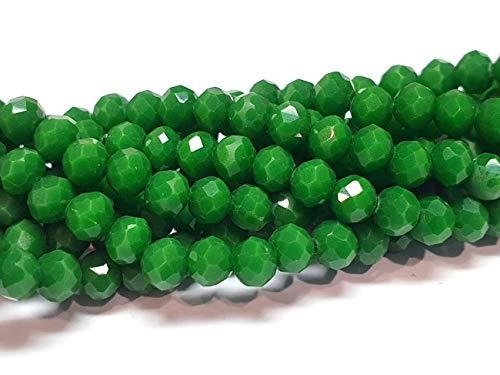 Cuentas de cristal checo de Bohemia facetadas redondas de 4/6/8/10 mm (verde opaco, 4 x 3 mm)