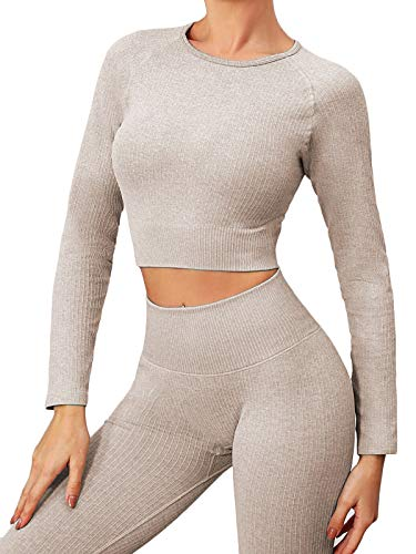 BuscandoWorkout Sets for Women 2 Piece Ribbed Long Sleeve High Waitst...