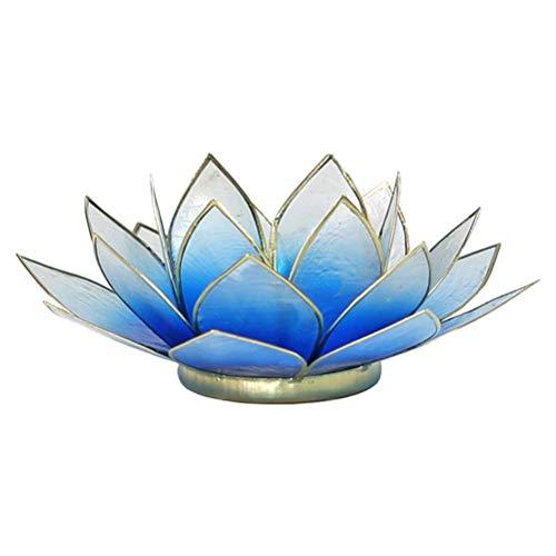 Kandelaar lotusbloem, blauw en goud