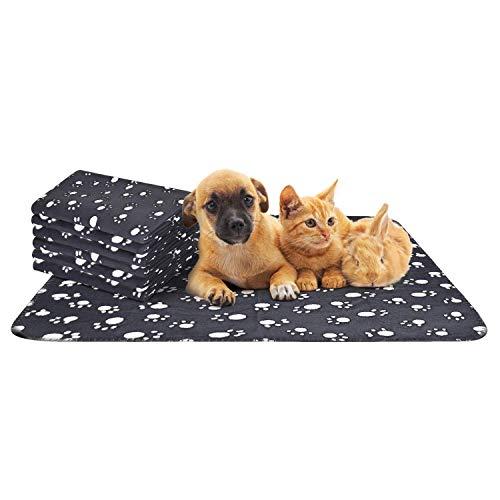 Nobleza - 6 x Hundedecke Weiche Fleecedecke Waschbare Deck für Haustier Hunde Katzen Welpen Weiche Warme Matte, Schwarz, 75 * 75cm