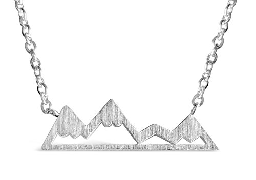 Rosa Vila Mountain Necklace For Women, Mountains And Outdoor Lovers Gifts, Mountain Range Necklace In Rose Gold, Gold, Carbon Black, Or Silver, Mountain Jewelry, Nature Necklace (Silver Tone)