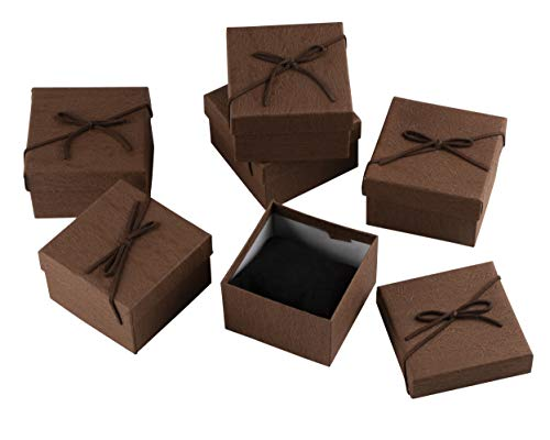 Cardboard Jewelry Gift Box Set with Lids and Bows for Valentine's Day, Wedding (18 Pack)