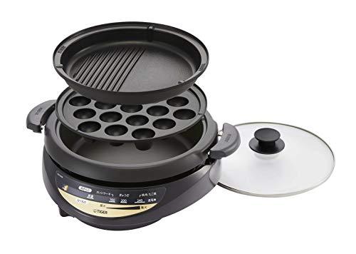 タイガー魔法瓶(TIGER) グリル鍋 3枚タイプ 遠赤土鍋コーティング 深鍋 たこ焼き プレート 3.7L ブラウン CQG-B30N-T