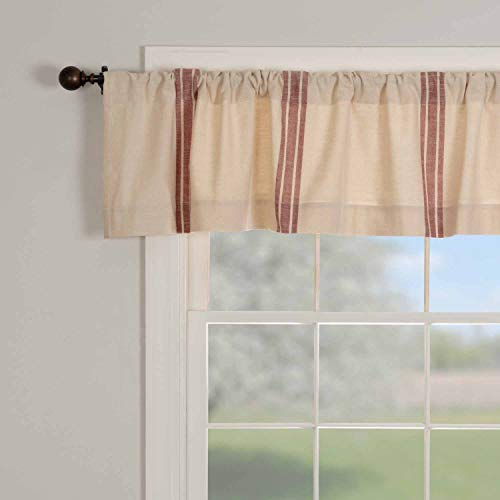 """Market Place Red Grain Sack Stripe Valance, 16"""" x 72"""", Farmhouse Kitchen Curtain in Brick Red & Natural Cream Feed Sack Stripes"""