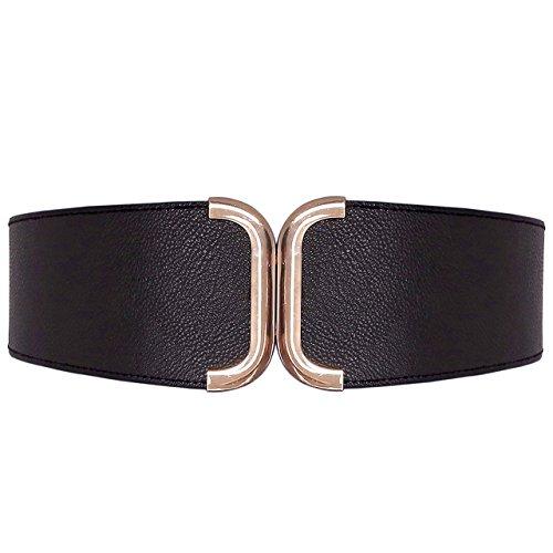CHIC DIARY Elastischer Breiter Taillengürtel Damen Stretch Gürtel Hüftgürtel mit Metall Schnalle Elegant Mode Kleidgürtel