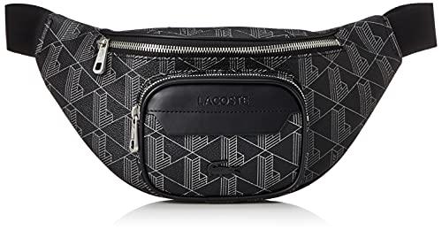 Lacoste NH3651LX, Waist Bag Homme, Allover Monogram Noir Gri, Taille Unique