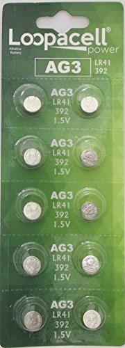 10 LOOPACELL AG3 LR41 392 384 CX41 SR41SW SR736 1.5V Alkaline Watch Battery