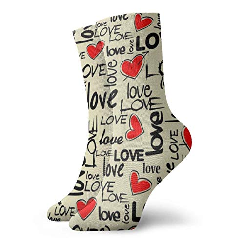 Warm-Breeze Hearts Patterm Compression Socks Unisex Socks Fun Casual Crew Socks Thin Socks Short Ankle For Outdoor Athletic Moisture Wicking