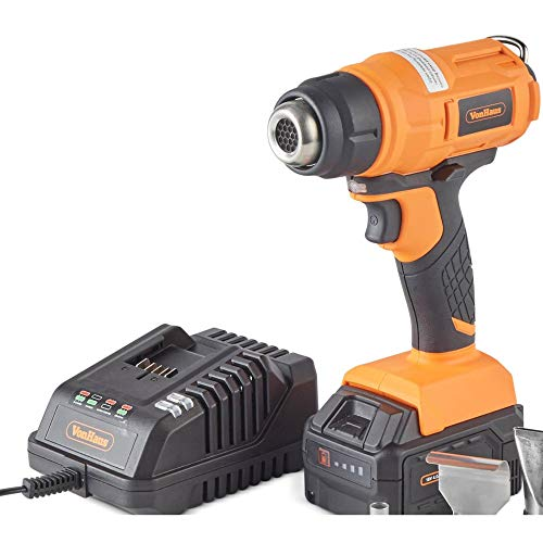 VonHaus 18V Cordless Heat Gun - Hot Air Paint Stripping, Soldering, Thaw Frozen Pipes, Loosen Adhesives - No Wires - Includes 4Ah Battery, Charger