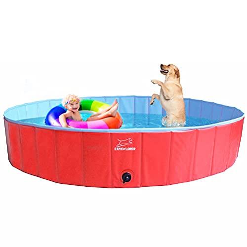 EXPAWLORER Foldable Dog Swimming Pool – Portable PVC Pet Bathing Tub for Dog Outdoor Yard, Dog Whelping Box