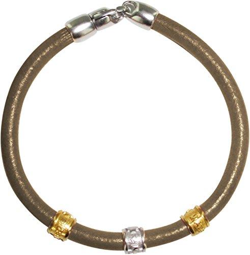 Trinity Armband aus Leder, sandfarben, mit Messing-Einsätzen in Gelbgold und Weißgold