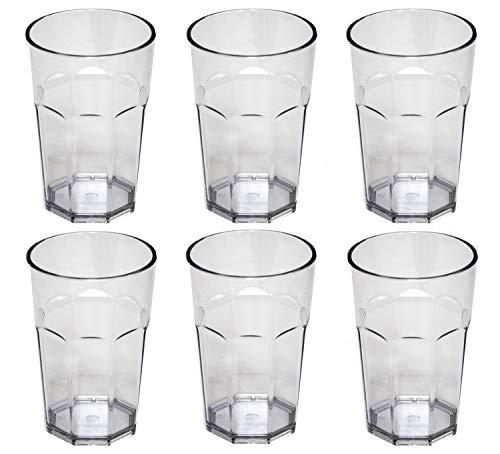 Omada Design Ensemble de 6 verres à boissons de 42,5 cl, en verre ou à long drink, en plastique de 12,5 cm de hauteur, incassables, de forme octogonale empilables et allant au lave-vaisselle, transp