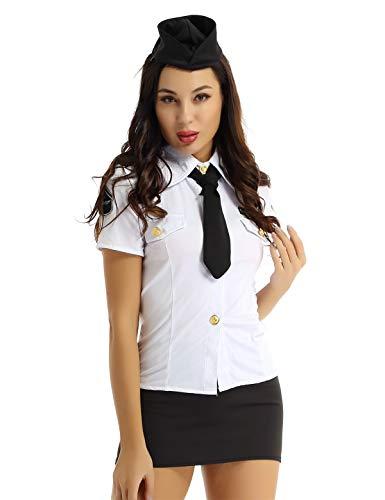 inlzdz 4 Stück Damen Kostüm Polizistin Schwarz&Weiß Polizei Kostüm Officer Cosplay Uniform Kurzarm Hemd+Minirock+Krawatte+Hut Fasching Karneval Verkleidung Weiß&Schwarz XXL