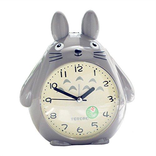 LOTOS-Cartoon Totoro Kind Aufstehen Wecker Stille Nacht Licht Snooze Funktion Kleine Wecker,Gray