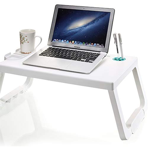 Laptop Bed Tray Table Foldable Lap Desk Stand With Cup Holder And Pen Holder Portable Adjustable Laptop Desk For Bed And Sofa Breakfast Serving Coffee Tray Office (Color : White+green Cover)