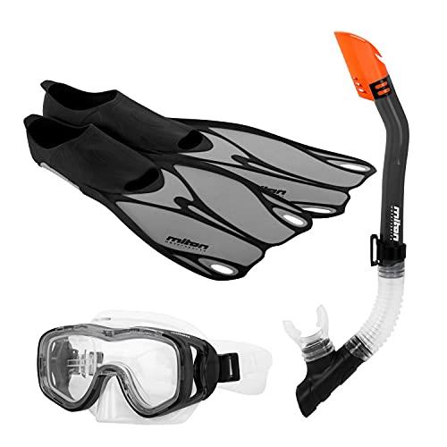 MITON 4 teiliges Flossenset CURL grau Größe 38/39 Erwachsene Taucherset Schnorchel Taucherbrille Flossen Schwimmflossen mit Transportbeutel Unisex für Damen und Herren