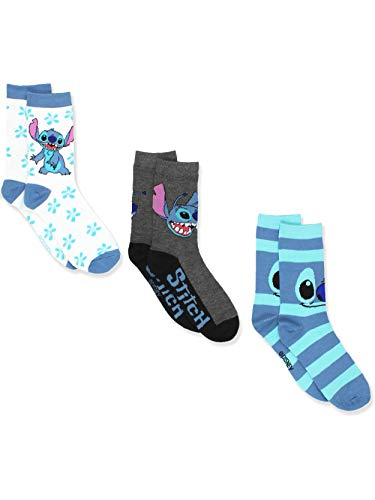 Disney Lilo & Stitch 3 pack Crew Socks (9-11 (Shoe: 4-10), Stitch White Blue)