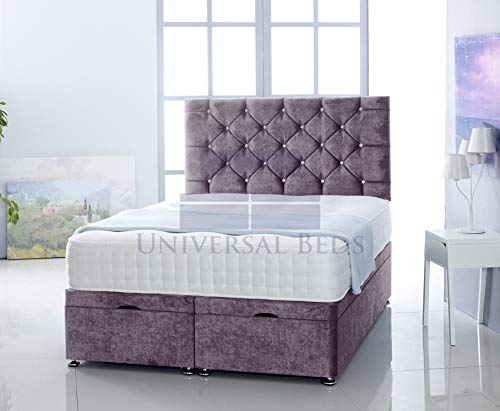 Universal Beds SOFT VELVET OTTOMAN SIDE LIFT STORAGE DIVAN BED BASE WITH MEMORY ORTHPAEDIC MATTRESS | FREE 26' HEADBOARD!!!! (4.6FT - Double, Soft Velvet Lilac)