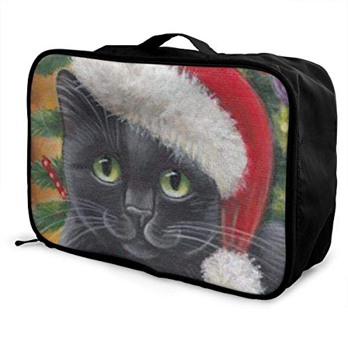 Qurbet Reisetaschen,Reisetasche, Portable Luggage Duffel Bag A Cat with A Christmas Hat Travel Bags Carry-on in Trolley Handle