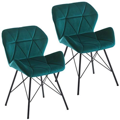 Duhome Set di 2 Sedia da sala da pranzo sedia di sala d'attesa conferenza design retro stil scandinavo con piedini in metallo 622J, colore:verde bluastro, materiale:velluto