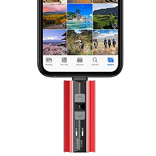 EATOP USB 3.0 Flash Drives 512GB, USB Memory Drive 512GB Photo Stick Compatible with Mobile Phone & Computers, Mobile Phone External Expandable Memory Storage Drive, Take More Photos & Videos (Red)