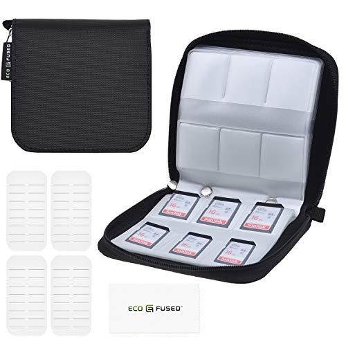 Eco-Fused Minneskortfodral – passar upp till 44 x SD, SDHC, Micro SD, Mini SD och 4X CF – hållare med 44 platser (8 sidor) – för förvaring och resor – mikrofiberrengöringsduk och etiketter ingår