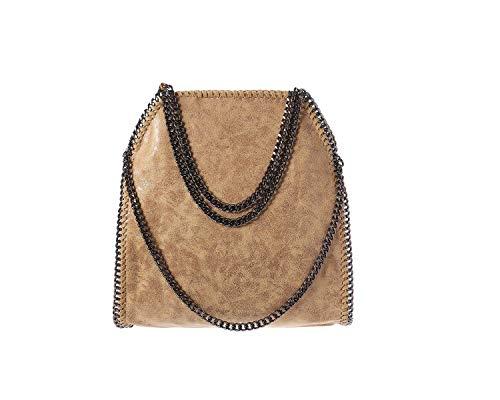 Damen PU lässigen Angleliu Kette Handtasche Modisch Schultertaschen Glitzer Beuteltasche (Beige Farbe)