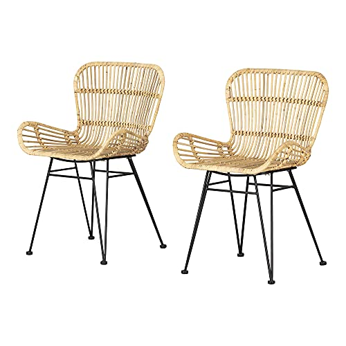 South Shore Balka Chair, with Arms, Rattan and Black