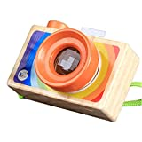 Wooden Mini Camera Toy Rainbow Color with Multi-Prisms Lens Kaleidoscope for Toddlers and Kids