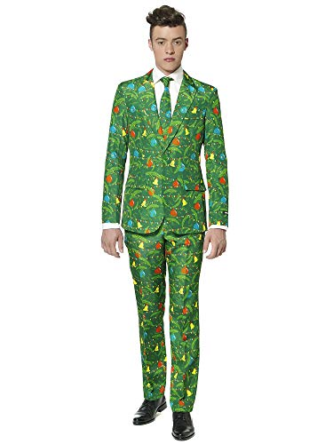 Suitmeister Christmas Suits for Men – Christmas Green Time – Ugly Xmas Sweater Costumes Include Jacket Pants & Tie – L
