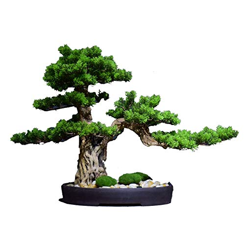 Living Equipment Artificial Potted Plants Artificial Tree Simulation Welcome Pine Wood Bonsai Zen Fake Green Plant Bonsai Living Room Hotel Entrance Home Decoration Ornaments Artificial Bonsai Tree