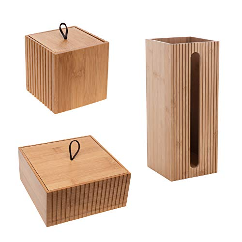 Bath Bliss 3 Piece Bamboo, Space Saving, for Toiletries, Cosmetic Organization, Includes Jars & Toilet Paper Holder Bathroom Storage Set, Natural
