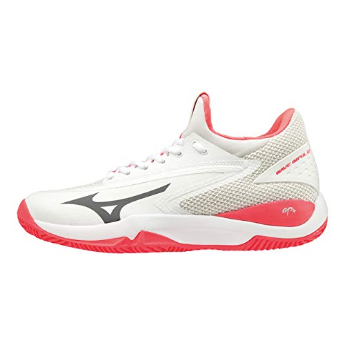 Mizuno Damen Wave Impulse Cc Tennisschuhe, Weiß (White/Dark Shadow/Fiery Coral 08), 40.5 EU