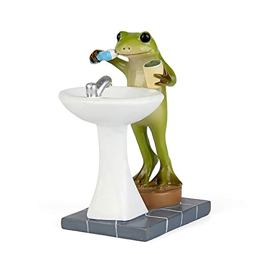 Tfro & Cile Fairy Garden Animal Statue Outdoor Miniature Brushing Teeth Frog Figurine - 3.3 Inch Height