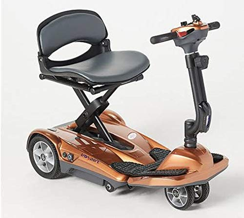 EV Rider Transport AF Plus Automatic Folding Scooter with Remote - Lithium Battery Lightweight Travel Mobility Scooter - Copper w/Free Tiller Bag