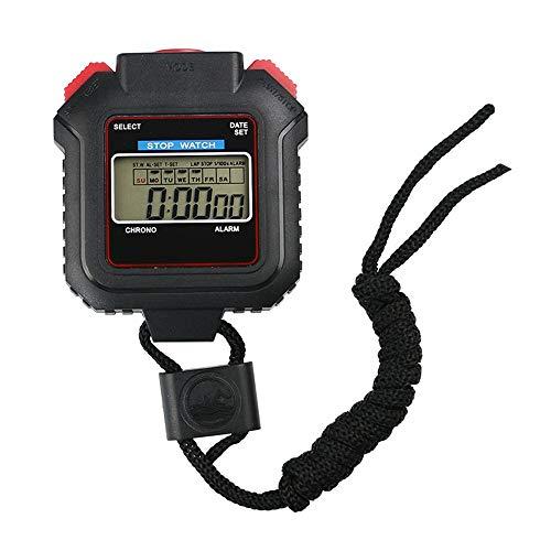 Zacheril Deportes Cronómetro Deporte Digital Cronómetro Temporizador Pantalla LCD Grande Conveniente for Baloncesto Fútbol Running Piscina Gimnasio y Mucho más (Color : Black, Size : 85x60x20mm)